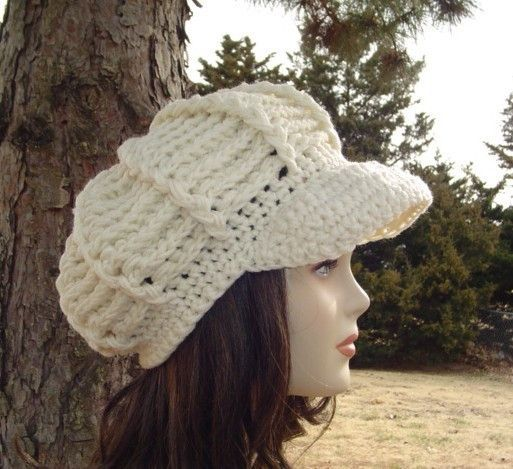 Aran Newsboy Cap, Visor Hat, cream billed Beanie, crochet cap, visor ...