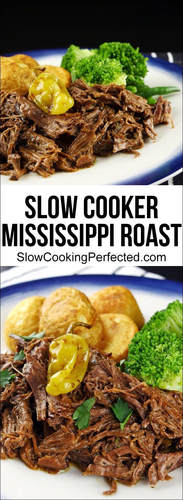 Super Easy Slow Cooker Mississippi Roast