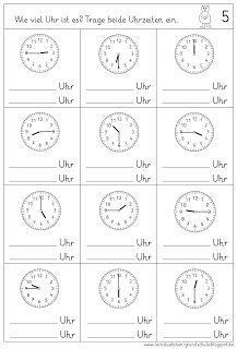 Uhrzeiten Lesen Alles Mischen Lernstübchen Englisch Uhrzeit