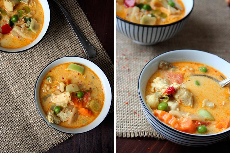 Das schnell und alltagstauglich nicht langweilig oder gar geschmacklos heißen muss, beweist die heutige Suppe. In derThai-Suppe mit Kokos und Hühnchen nehmen knackiges Asia-Gemüse und saftiges Hähnchen ein Bad in cremiger Kokosmilch. Ingwer, Chili und Currypaste verleihen eine angenehme Schärfe, die ganz wunderbar mit den exotischen Aromen harmoniert. Das Beste: dieses Schätzchen steht in 20...Read More » #thaifoodrecipes