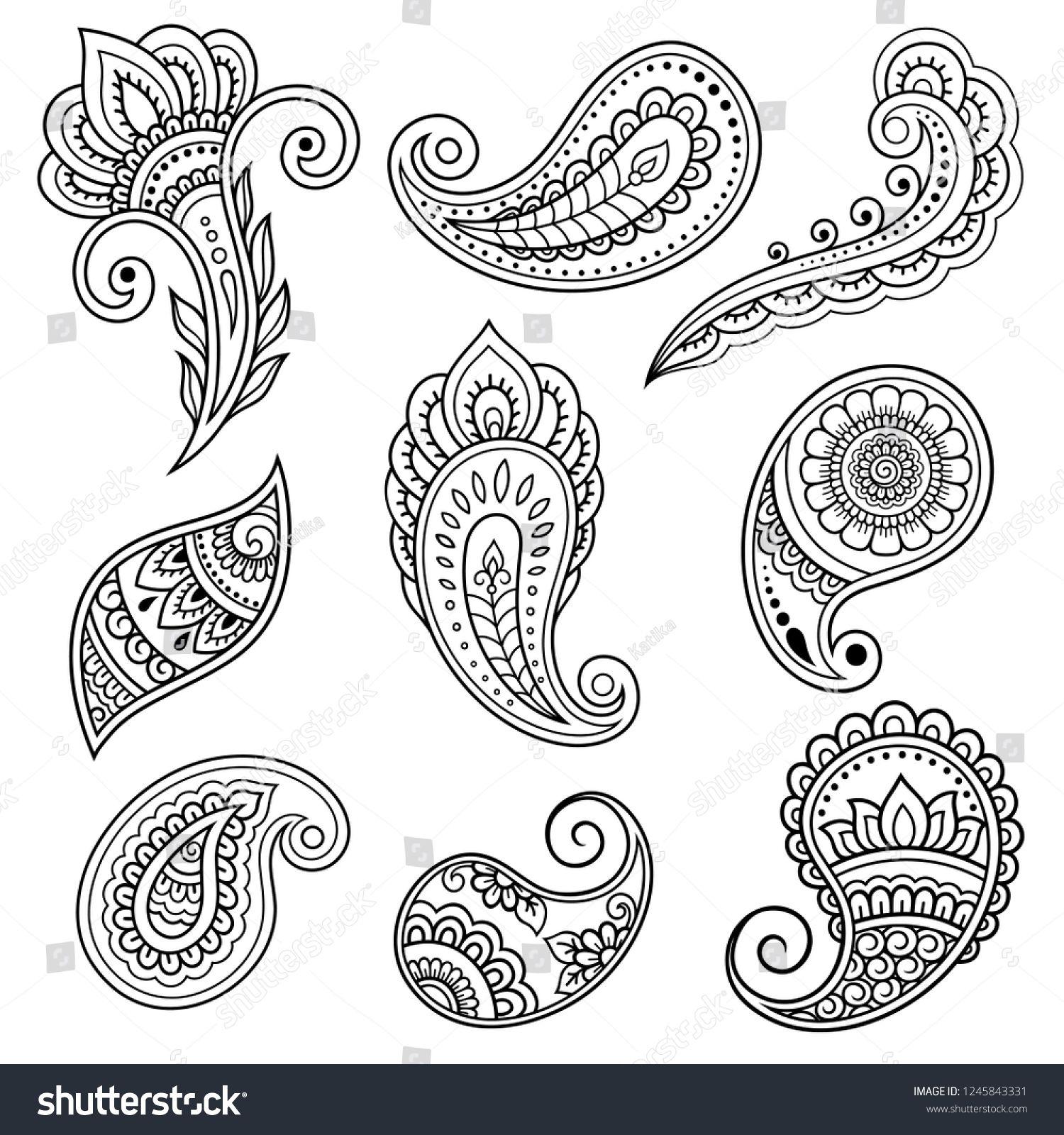 Set Mehndi Flower Pattern Henna Drawing Stock Vector (Royalty Free) 1245843331