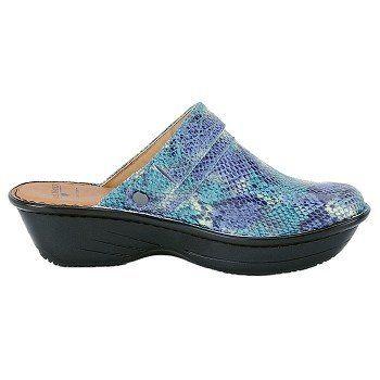 Nurse Mates Women's Gala Clog Shoes in Aqua Snake