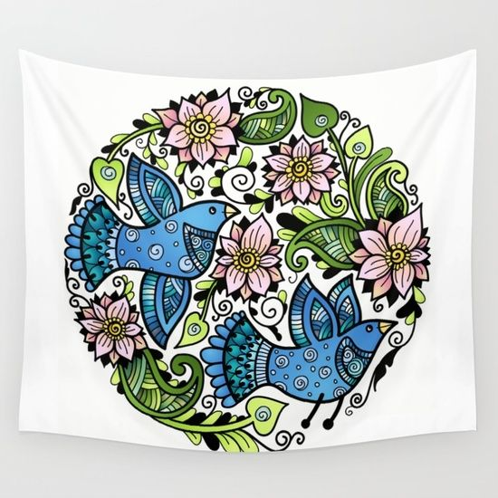 Blossom Spring Wall Tapestry by Salome | Society6