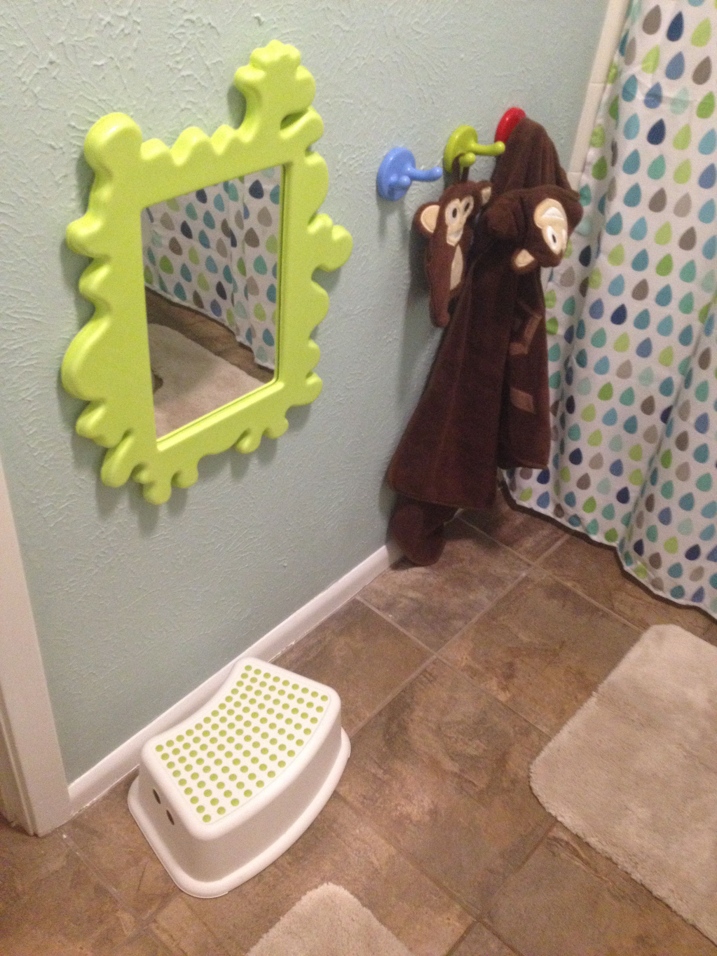 Ikea Toddler Hooks And Mirror In Bathroom