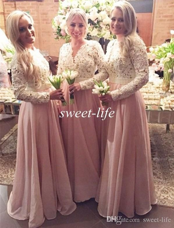 Blush Long Sleeves Bridesmaid Dresses Cream Lace Chiffon Pearls 2016 Vintage Maid Of Honor Dress Plus Size Muslim Formal Evening Gowns