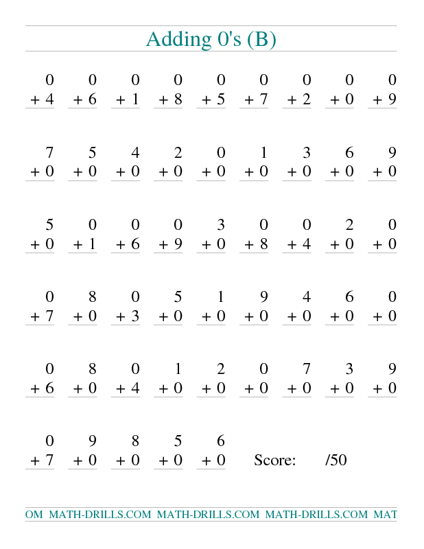 Addition Worksheet  Single Digit Addition   Vertical