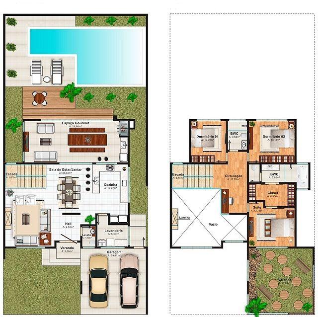 Plano de casa de 256 m2 arquitetura pinterest house for Planos de casas con piscina