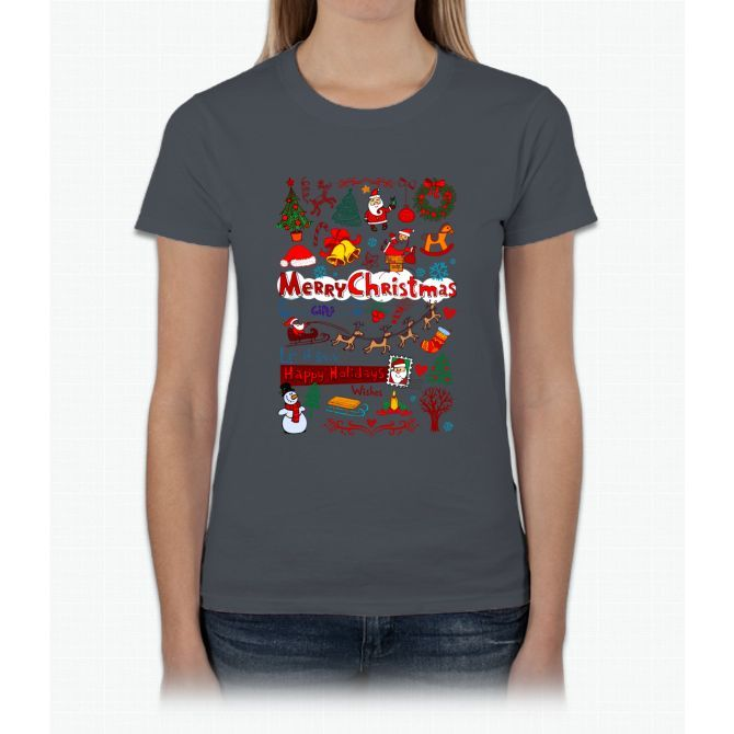 Merry Christmas Happy Holiday T Shirt Womens T-Shirt Products