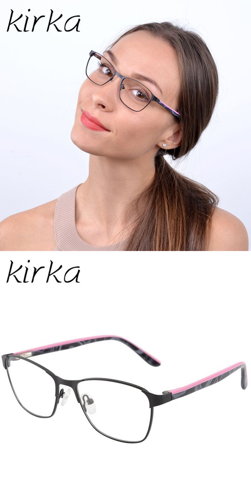 035d3d9db8c9 Cute type pink color fashion design stainless steel metal women eyeglasses  frame myopia glasses women