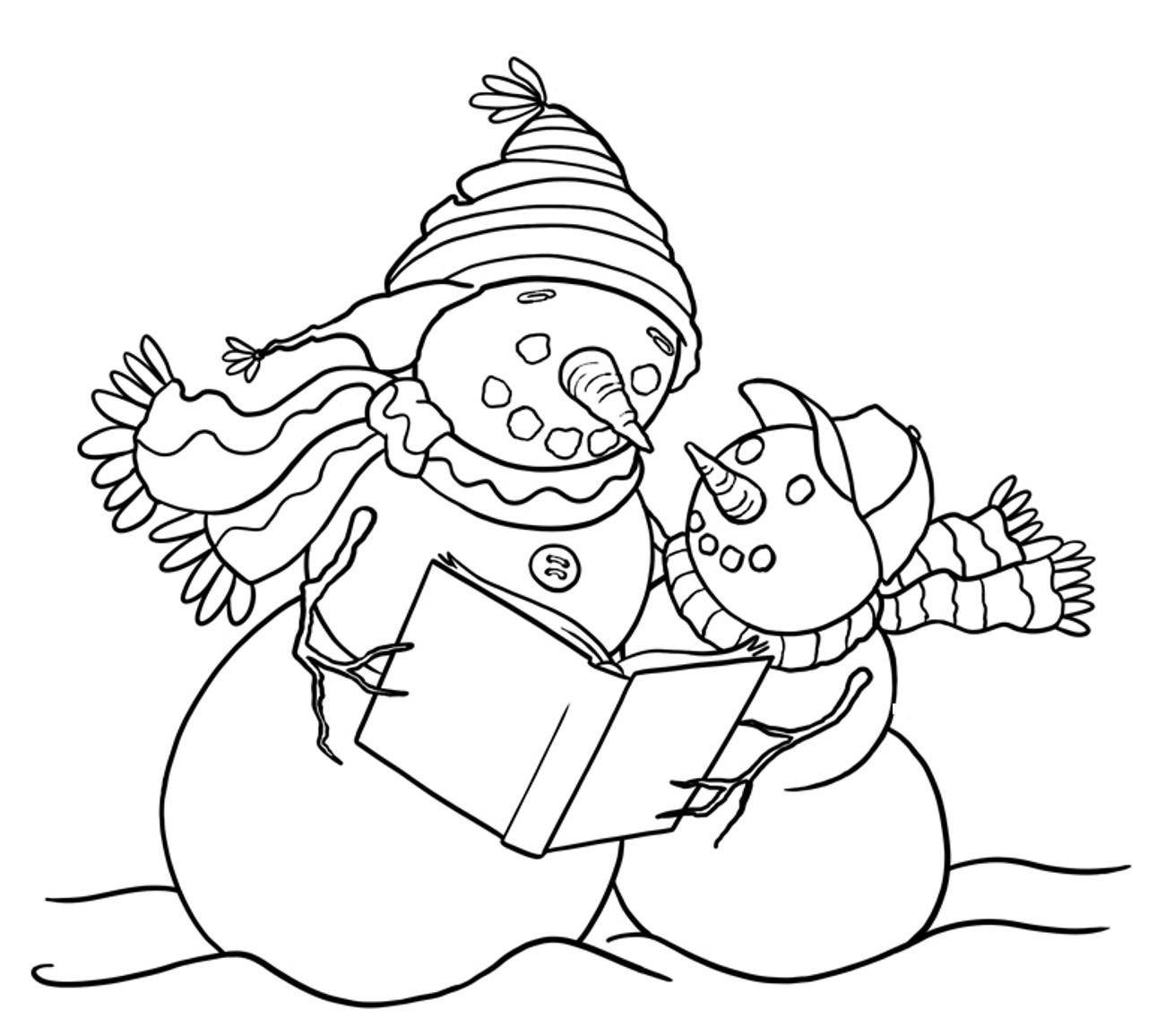 Reading Snowman Coloring Pages   MARC   Pinterest   Snowman