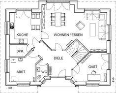 Landhaus Grundriss Erdgeschoss mit 100,40 m² Wohnfläche