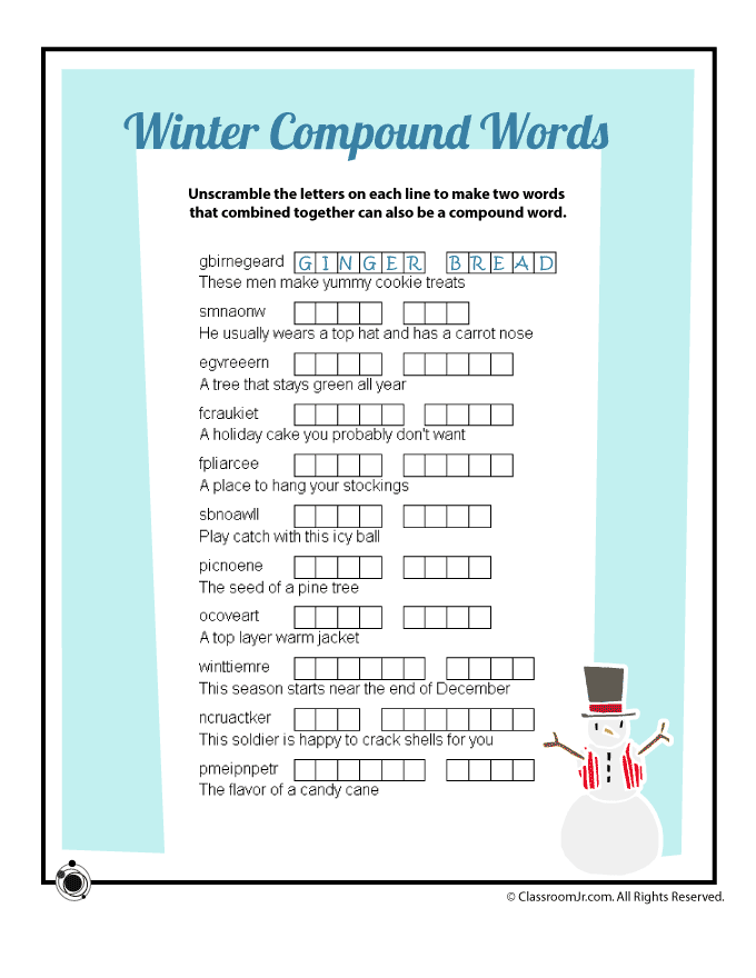 Winter Compound Words Vocabulary Word Scramble Worksheet ...