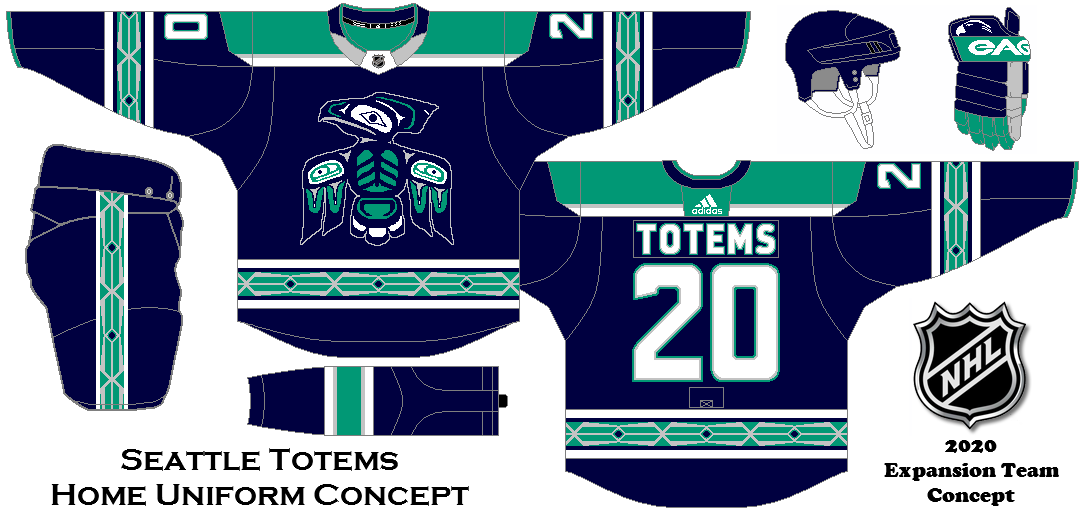 Seattle Totems Home Uniform Concept My Idea For A Possible Nhl Expansion Team In Seattle Nhl Logos Nhl Jerseys Nhl Hockey