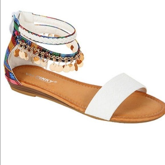 Touch of bo-ho! Super cute sandals with ankle bling and colorful strap. Great with cut offs and a white boyfriend shirt! Shoes Sandals