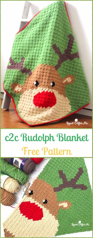 Crochet C2C Rudolph Blanket Free Pattern - Crochet Christmas Blanket ...