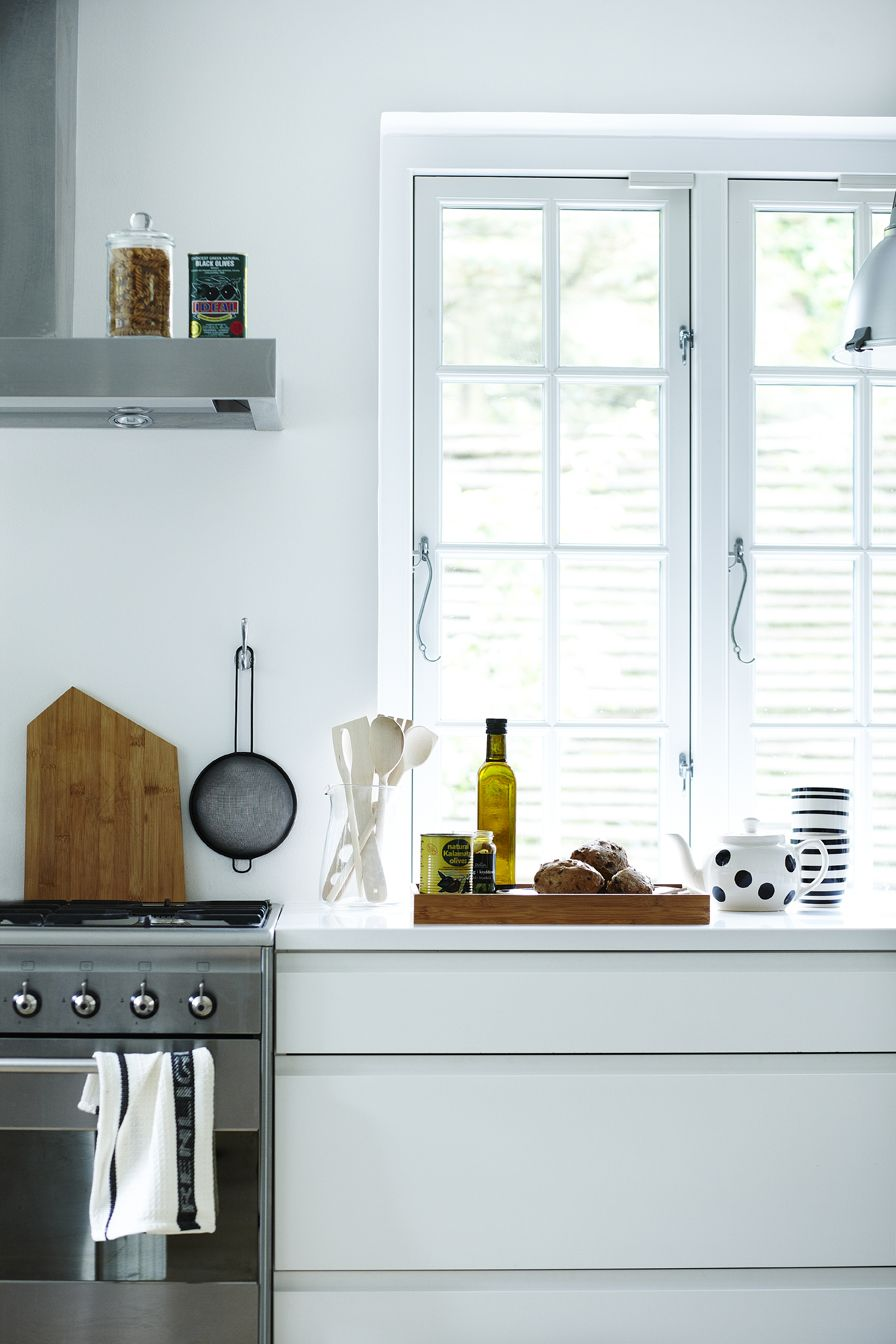 Love the window handles in this white modern kitchen with a big ...
