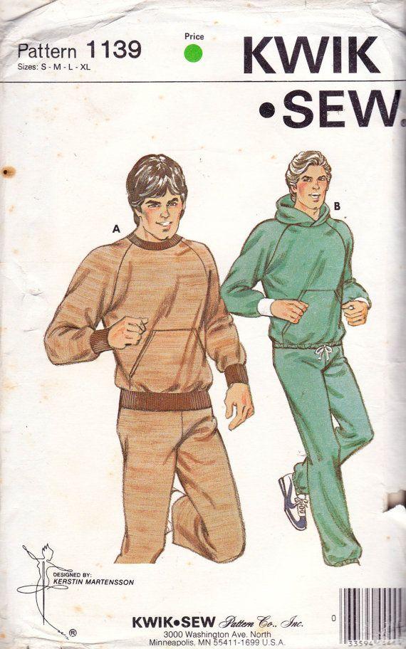Kwik Sew 1139 vintage sewing pattern dated 1981. Mens Jogging Suit ...