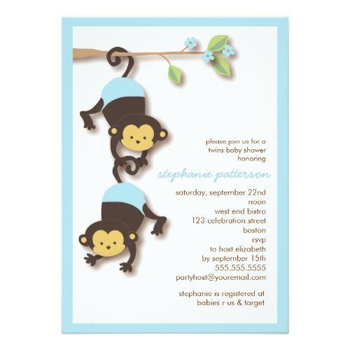 Modern monkey twin boys baby shower invitation twin boys monkey modern monkey twin boys baby shower invitation filmwisefo Images