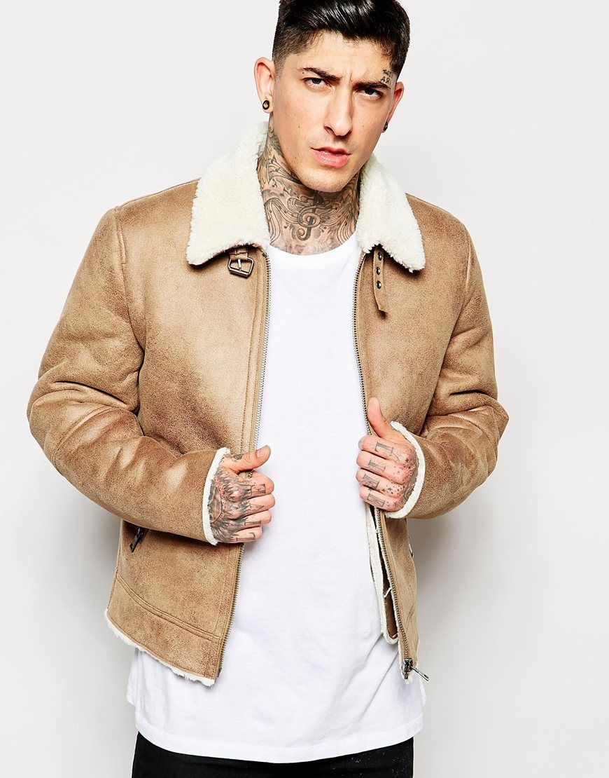 image 1 of asos faux suede harrington with shearling. Black Bedroom Furniture Sets. Home Design Ideas