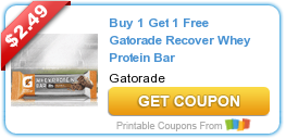 image regarding Gatorade Coupons Printable identified as Purchase 1 Choose 1 Absolutely free Gatorade Get well Whey Protein Bar Discount codes