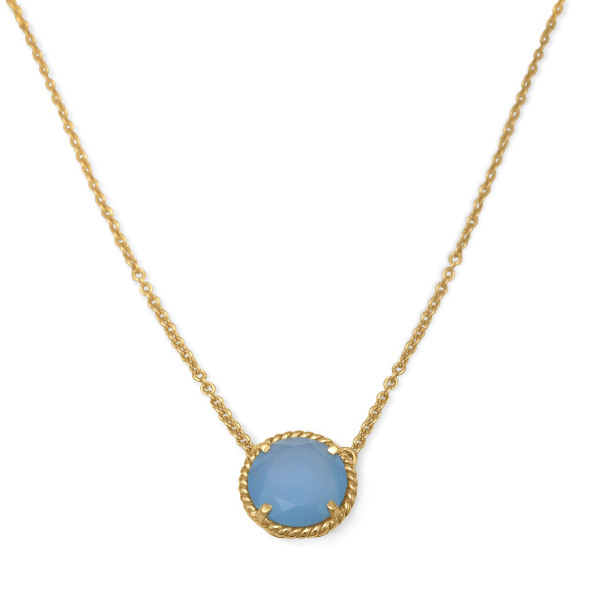 Adjustable karat gold plated brass blue chalcedony necklace