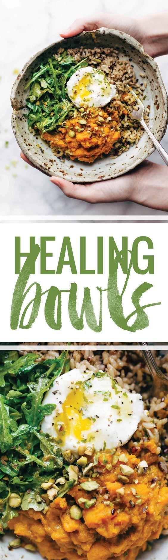 Healing Bowls: turmeric sweet potatoes, brown rice, red quinoa, arugula, poached egg, lemon dressing.