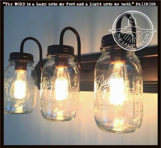Vintage Blue Mason Jar Ceiling Lighting Fixture Trio #kronleuchterauseinmachgläsern