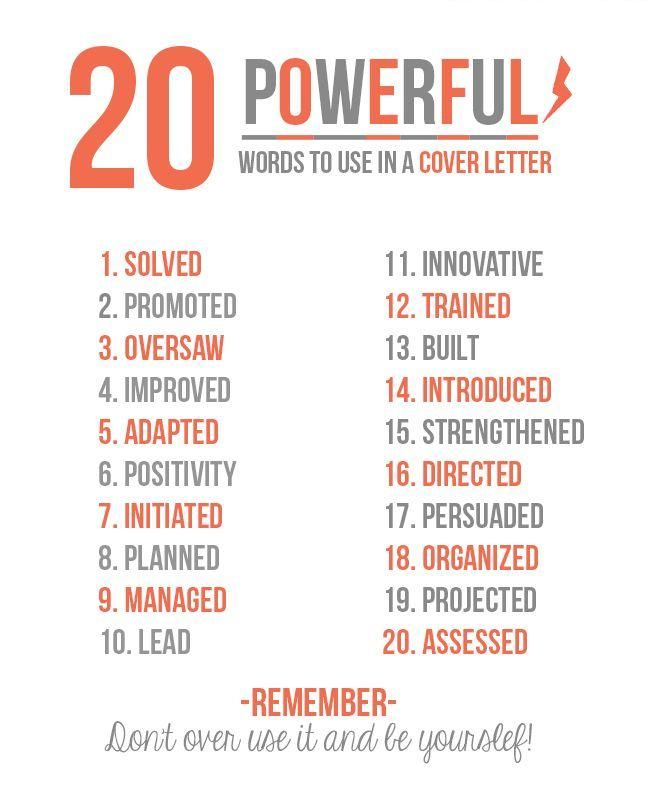 use these powerful #keywords in your #cover #letter Jobs Pinterest - cover letter for it jobs