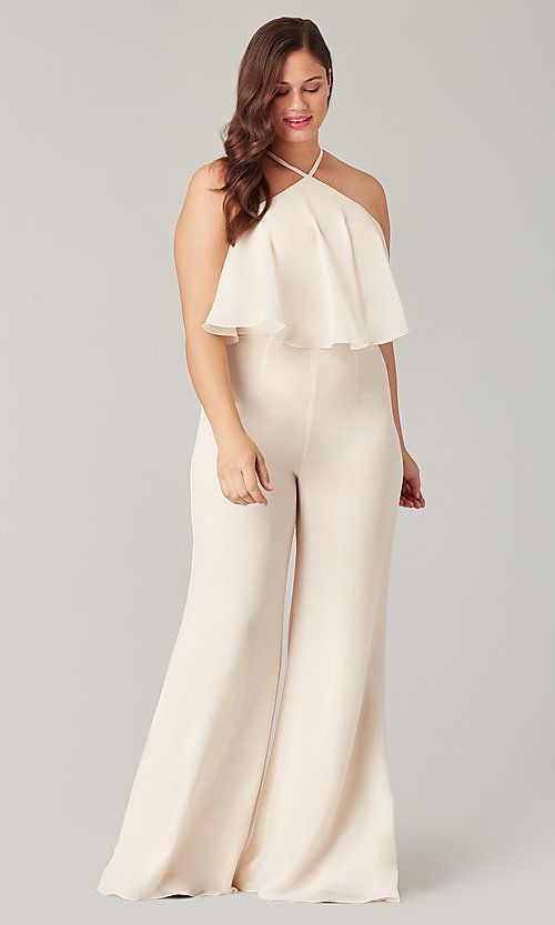 Chiffon High-Neck Kleinfeld Bridesmaid Jumpsuit