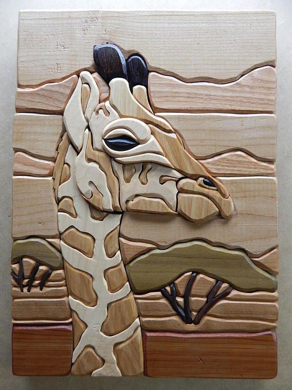 Giraffe Wood Intarsia Wall Hanging Handcrafted Scroll Saw