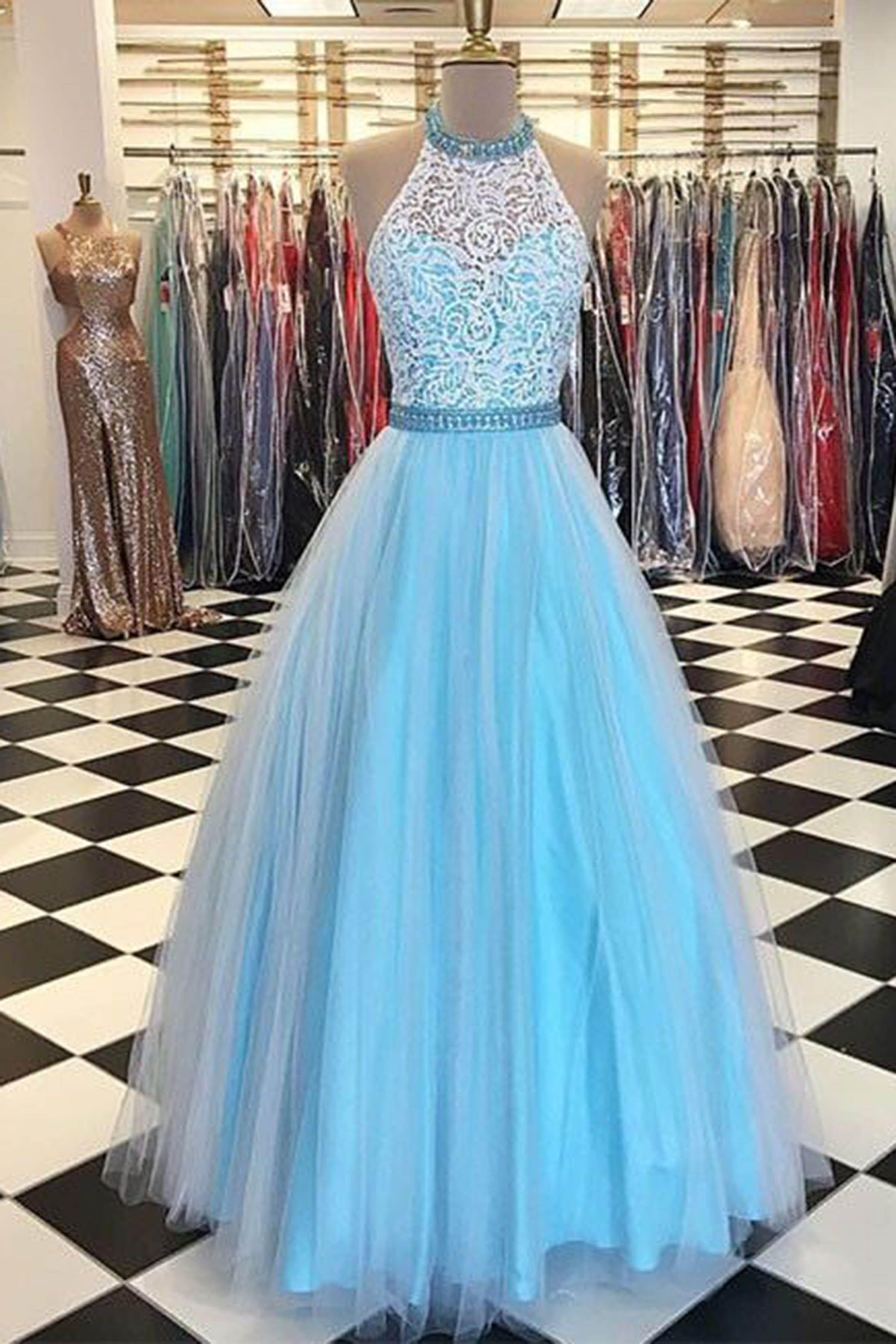 Light blue tulle lace halter aline long dresses evening dresses