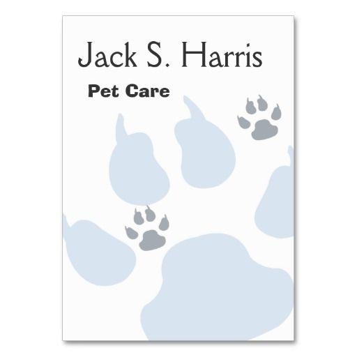 Plain Pet Care Animal Sitter Dog Cat Paw Prints Business Card