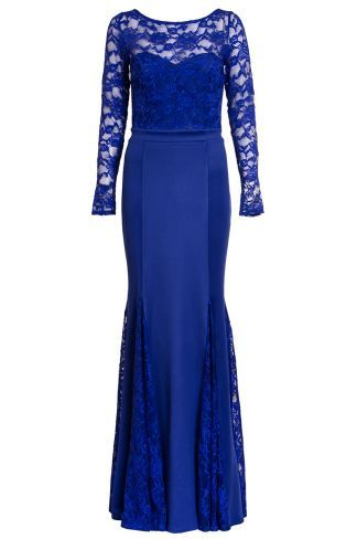 d3e0dbb33c41 Royal Blue Lace Long Sleeve Fishtail Maxi Dress | Wedding ...