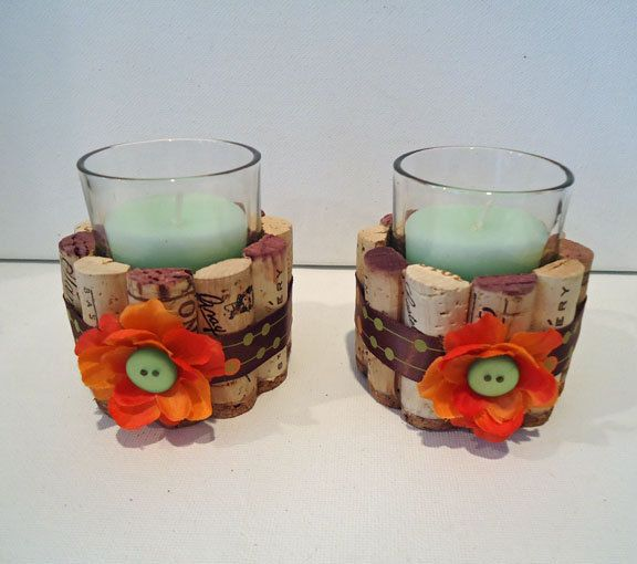 Cork Candles: Upcycled Wine Cork Votive Candle Holders By
