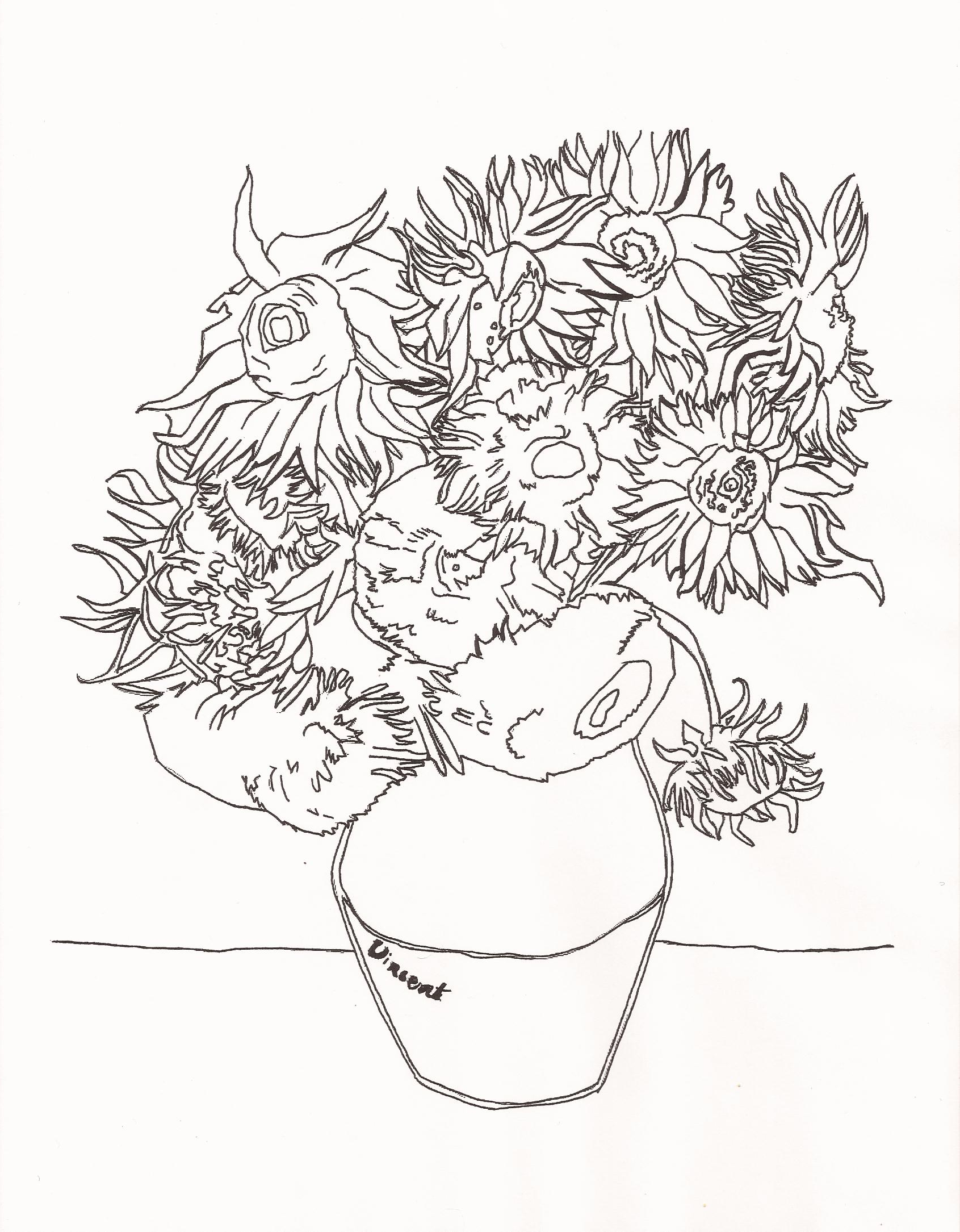 sunflower coloring pages google search adult coloringcoloring pagesvan goghsunflowers - Sunflower Coloring Page Van Gogh