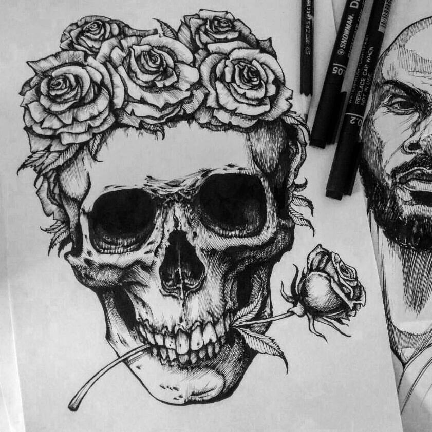 Skull And Roses Crown Drawing Skulls Drawing Cool Skull Drawings Crown Drawing