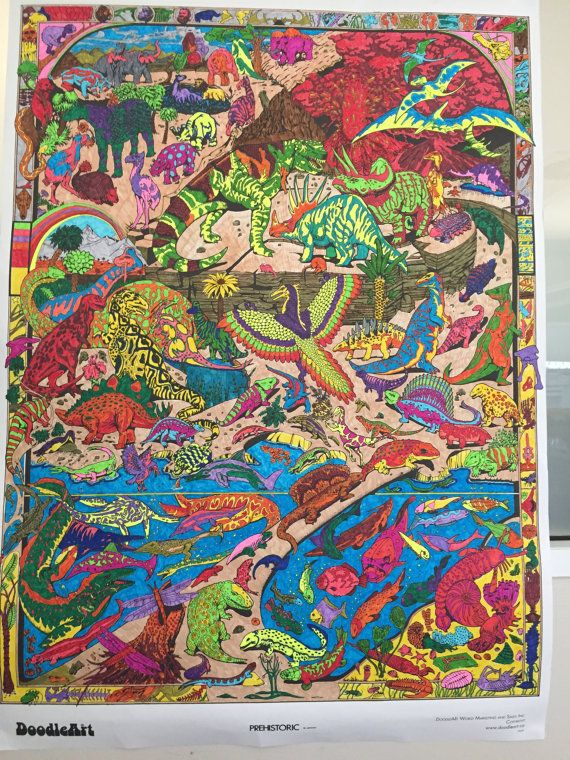 Pre historic dinosaur themed A1 colouring in poster