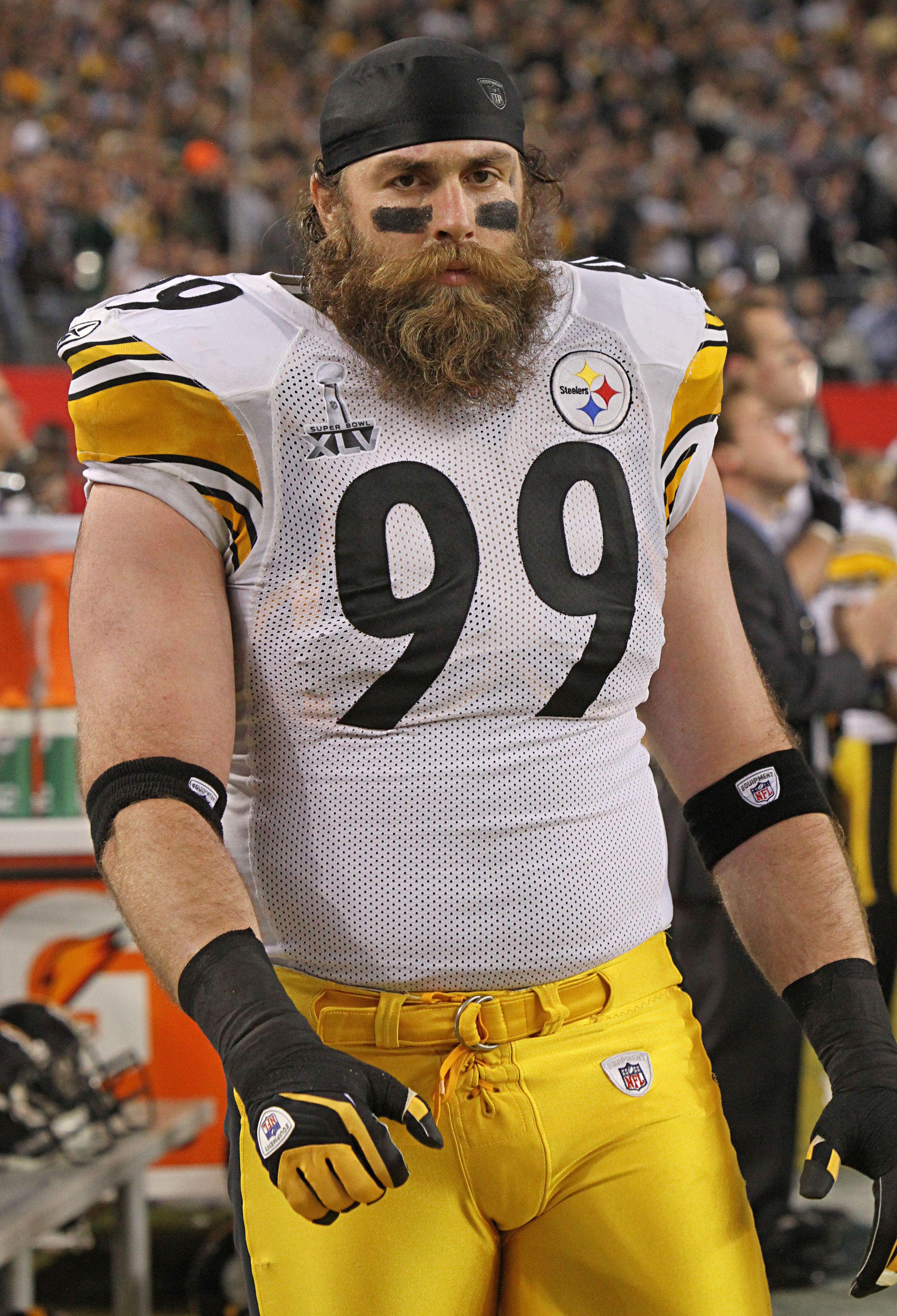aeed9dbb0 Brett Keisel Super Bowl XLV Packers vs Steelers