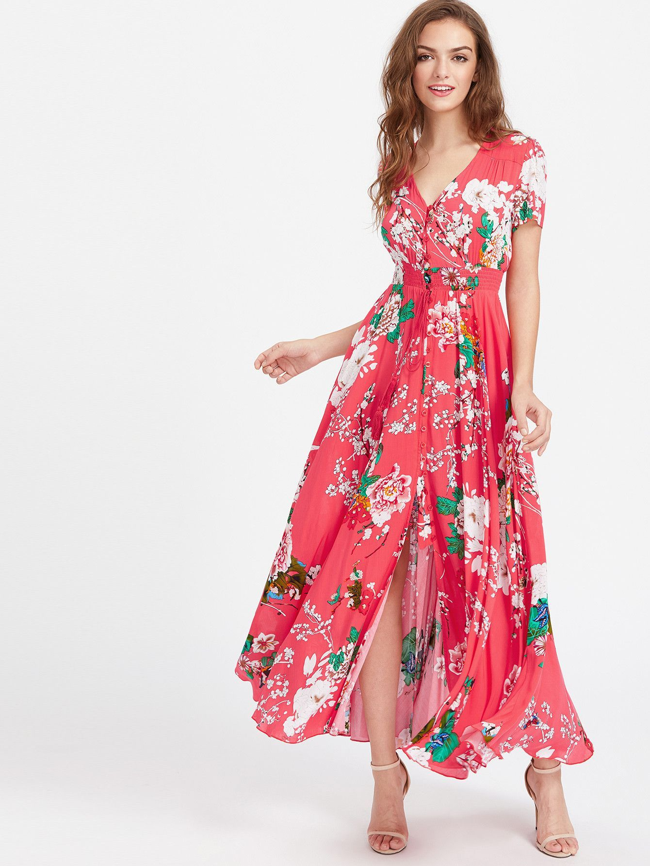 4df76341c2d Pink V-Neck Smocked Waist Tassel Tie Floral Print Maxi Dress in 2019 ...