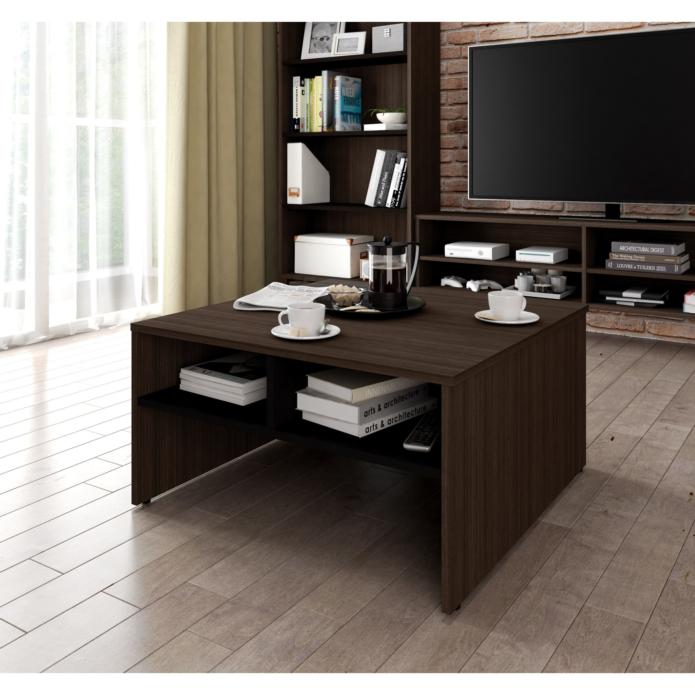 Bestar small space 295inch storage coffee table black