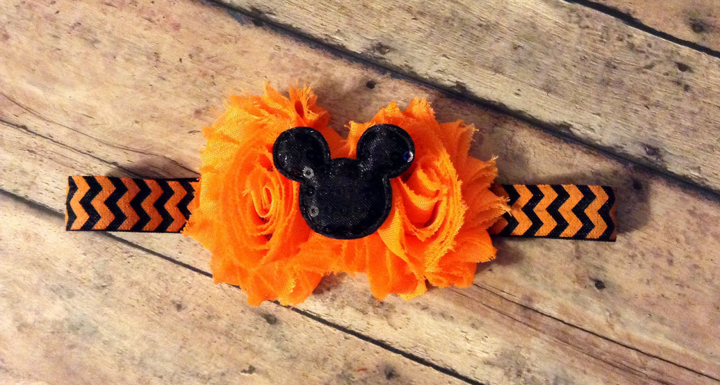 Black/orange Minnie Mouse inspired headband! Find me on Facebook!