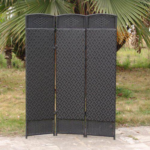 Outdoor/Indoor Woven Resin 3 Panel Room Divider - Black - Outdoor Privacy Screens at Hayneedle