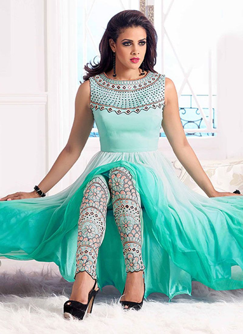 Cbazaar Turquoise Net Anarkali Suit | Style...not what I present to ...