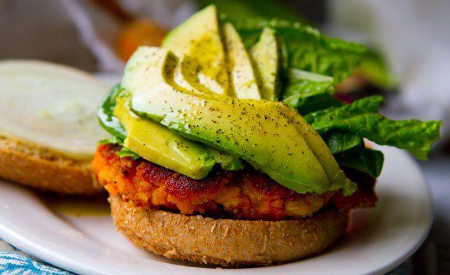 Sweet Potato Veggie Burgers. That Avacado looks delicious too.
