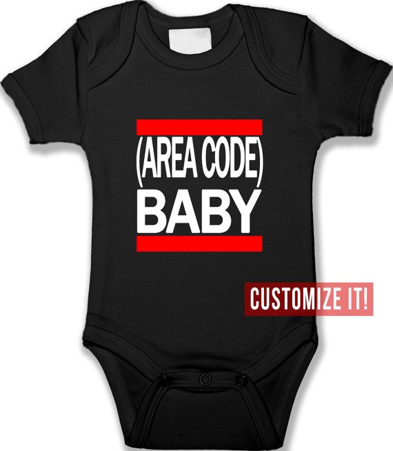 Baby Onesie Area Code City Custom Bodysuit by babyprintCA on Etsy