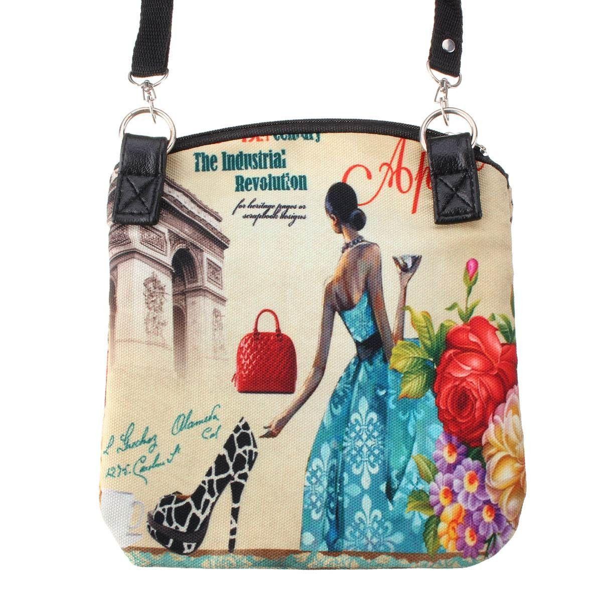 22e9e922f6f1 New Women Messenger Bags Vintage Canvas Printing Small Satchel Shoulder  European Style Girls Handbag Lady Bolsa Crossbody Bag