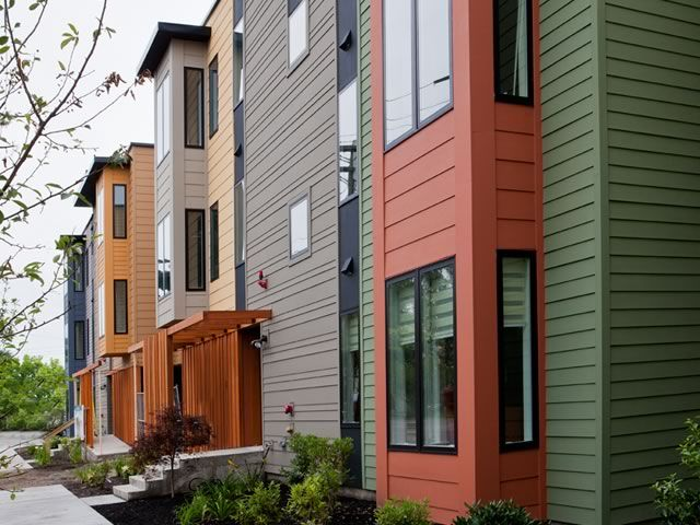 James Hardie Commercial Photo Gallery Hardie Reveal Panel System Townhouse Exterior Modern Siding Exterior Design