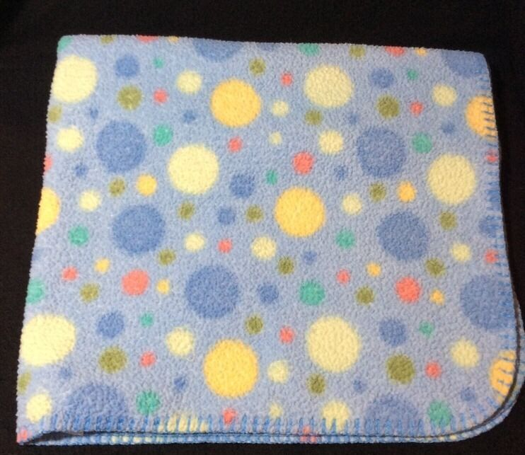 Baby Connection Blue Polka Dot Sherpa Fleece Blanket Lovey #BabyConnection