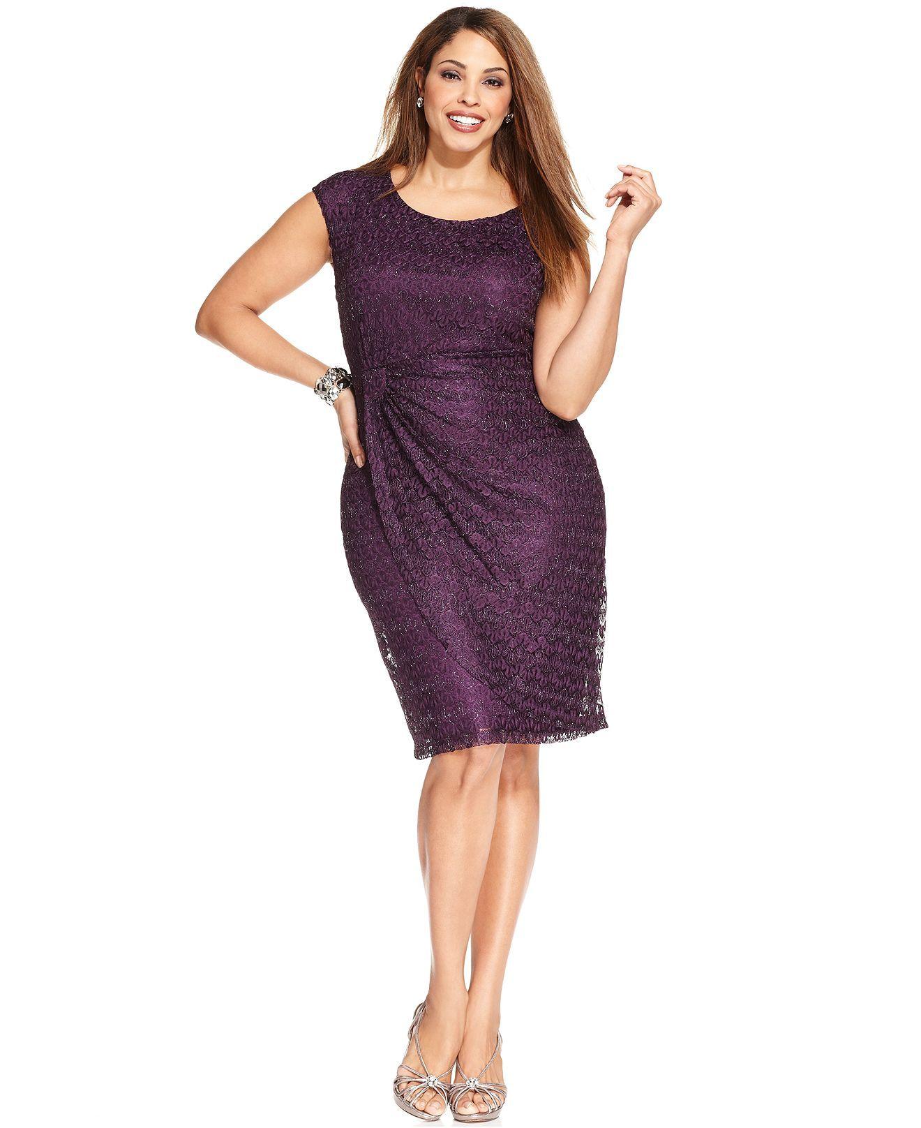 Connected Plus Size Metallic Lace Faux-Wrap Dress - Dresses - Plus ...