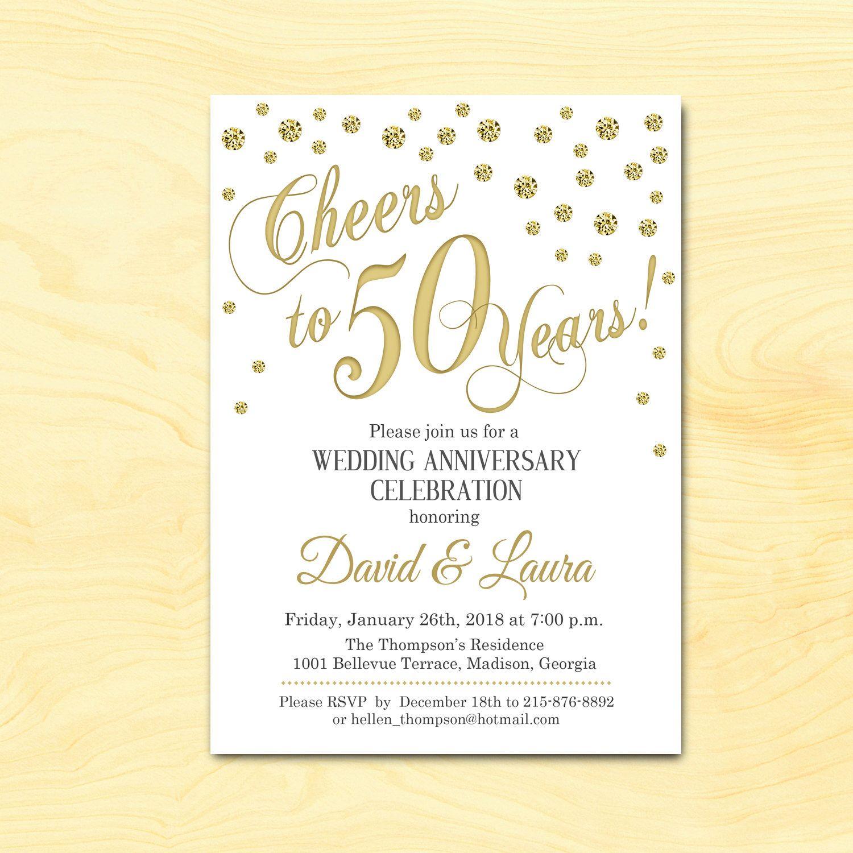 50th Wedding Anniversary Invitation / Gold White / Diamonds ...